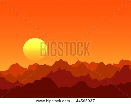 Orange bright sunrise over mountains vector background