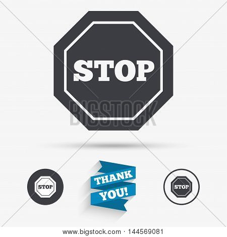 Traffic stop sign icon. Caution symbol. Flat icons. Buttons with icons. Thank you ribbon. Vector
