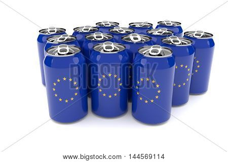 Packaging Waste In The European Union: EU flag Aluminum Cans Isolated On A White Background 3d illustration