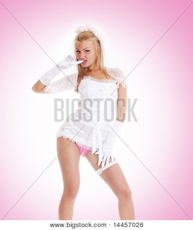 Young sexy bride in vulgar pose
