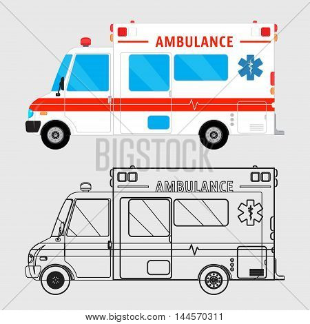 Ambulance car isolated. Medical help bus. Special service vehicle. Vector illustration