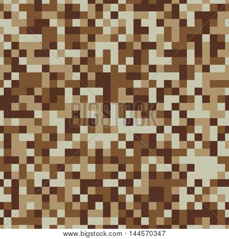 Sandy desert pixel camouflage seamless vector background