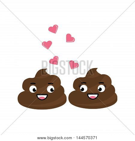 Two cute vector poop character fall in love have a romantic flirt chat. Turd emoticons design elemets icons