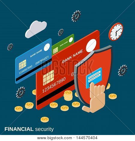Financial security, online banking, web transfer, money protection vector concept