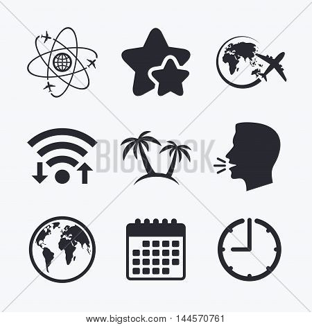 Travel trip icon. Airplane, world globe symbols. Palm tree sign. Travel round the world. Wifi internet, favorite stars, calendar and clock. Talking head. Vector