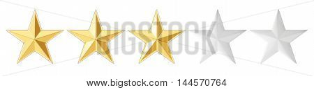 3 stars concept 3D rendering isolated on white background