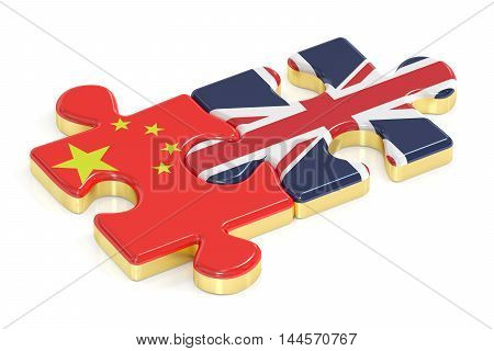 China and UK puzzles from flags 3D rendering