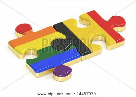 Gay Pride Rainbow and Belgium puzzles from flags 3D rendering