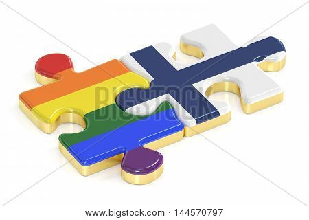 Gay Pride Rainbow and Finland puzzles from flags 3D rendering