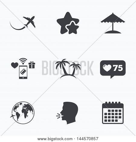 Travel trip icon. Airplane, world globe symbols. Palm tree and Beach umbrella signs. Flat talking head, calendar icons. Stars, like counter icons. Vector