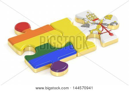 Gay Pride Rainbow and Vatican puzzles from flags 3D rendering