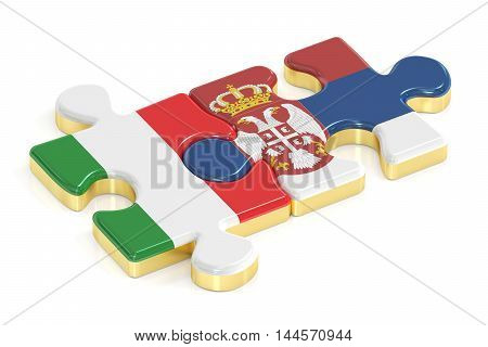 Italy and Serbia puzzles from flags 3D rendering