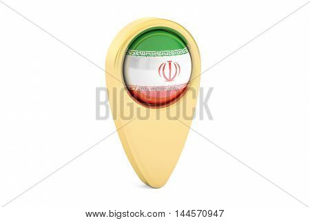 map pointer with flag of Iran 3D rendering isolated on white background