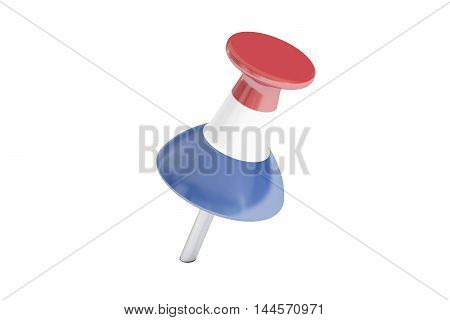 Push pin with flag of Netherlands 3D rendering isolated on white background