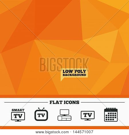 Triangular low poly orange background. Smart TV mode icon. Widescreen symbol. Retro television and TV table signs. Calendar flat icon. Vector