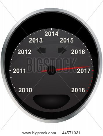 illustration of years odometer indicator  2017 year