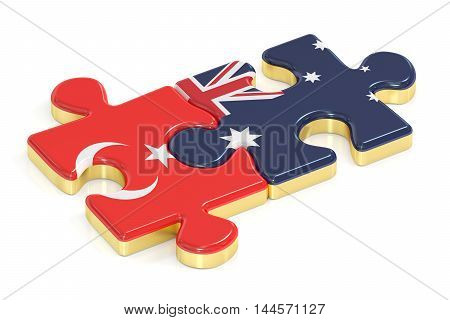 Turkey and Australia puzzles from flags 3D rendering