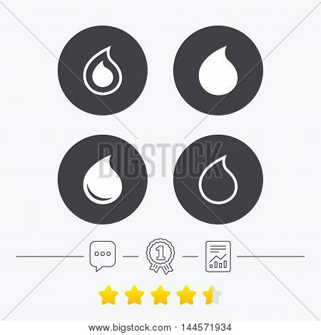 Water drop icons. Tear or Oil drop symbols. Chat, award medal and report linear icons. Star vote ranking. Vector