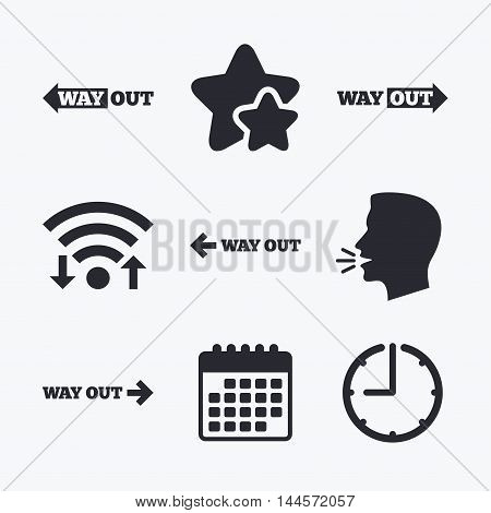 Way out icons. Left and right arrows symbols. Direction signs in the subway. Wifi internet, favorite stars, calendar and clock. Talking head. Vector