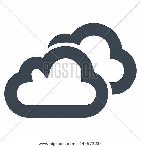 Clouds vector icon. Style is contour flat icon symbol, smooth blue color, white background.