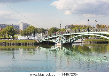 West arch bridge in Tsaritsyno park in Moscow