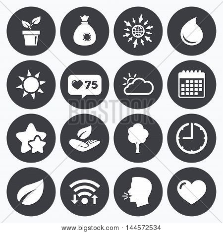 Calendar, wifi and clock symbols. Like counter, stars symbols. Garden sprout, leaf icons. Nature and weather signs. Sun, cloud and tree symbols. Talking head, go to web symbols. Vector