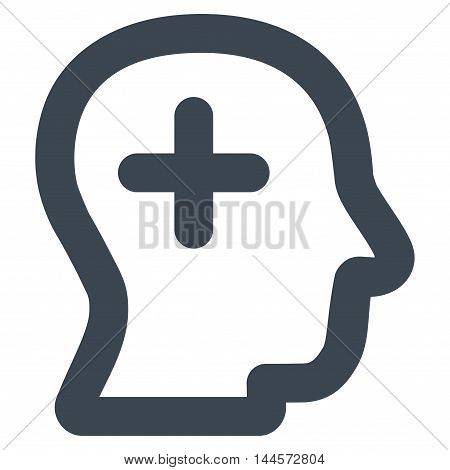Positive Thinking vector icon. Style is contour flat icon symbol, smooth blue color, white background.