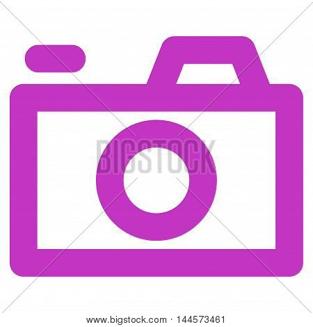 Camera vector icon. Style is stroke flat icon symbol, violet color, white background.