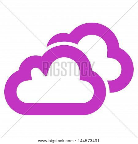 Clouds vector icon. Style is stroke flat icon symbol, violet color, white background.
