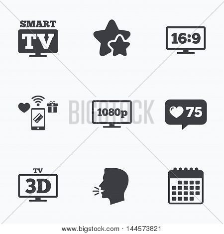 Smart TV mode icon. Aspect ratio 16:9 widescreen symbol. Full hd 1080p resolution. 3D Television sign. Flat talking head, calendar icons. Stars, like counter icons. Vector
