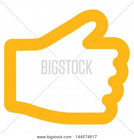 Hand vector icon. Style is contour flat icon symbol, yellow color, white background.