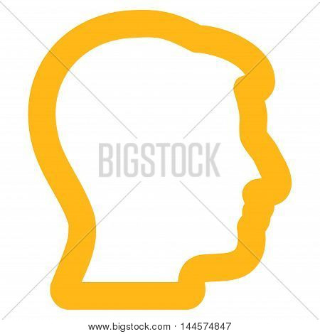 Head Profile vector icon. Style is outline flat icon symbol, yellow color, white background.