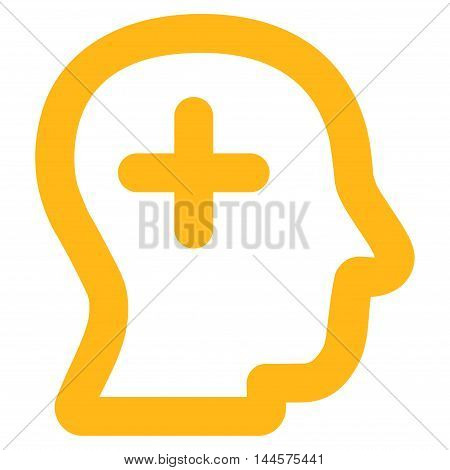 Positive Thinking vector icon. Style is stroke flat icon symbol, yellow color, white background.