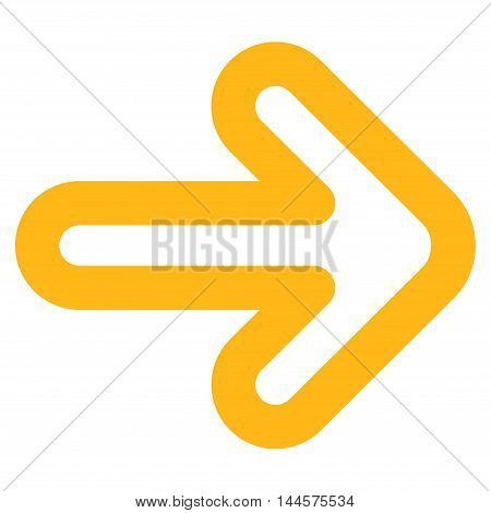 Right Arrow vector icon. Style is linear flat icon symbol, yellow color, white background.