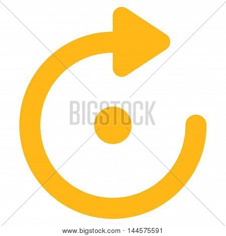 Rotation vector icon. Style is contour flat icon symbol, yellow color, white background.