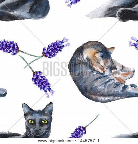 background with cats on a colored background. seamless pattern. watercolor illustration.