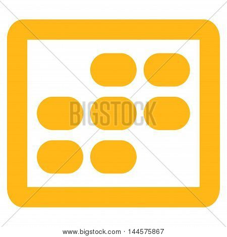 Week Calendar vector icon. Style is contour flat icon symbol, yellow color, white background.