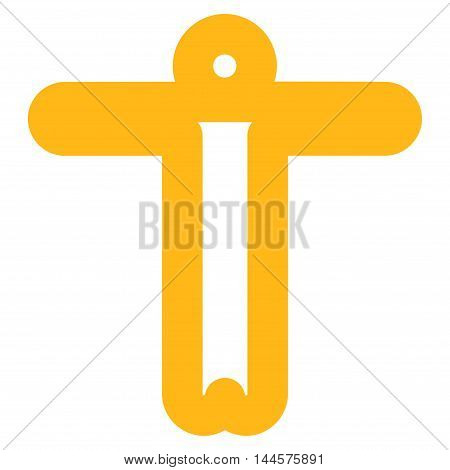 Welcome Person vector icon. Style is contour flat icon symbol, yellow color, white background.