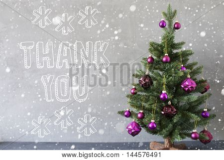 Christmas Tree With Purple Christmas Tree Balls And Snowflakes. Card For Seasons Greetings. Gray Cement Or Concrete Wall For Urban, Modern Industrial Styl. English Text Thank You