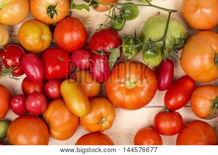 Close-up view of fresh tomatoes. Young juicy tomatoes. A lot of tomatoes. Heap of tomatoes. Summer agriculture farm market tray full of organic tomatoes. Fresh tomatoes. Above colorful fresh tomatoes.