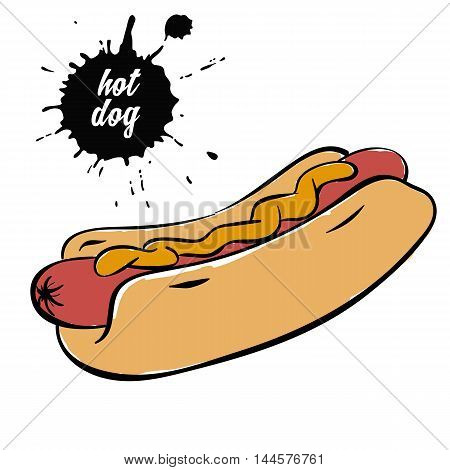 hotdog with mustard fast food sausage with mustard isolated on white background vector illustration