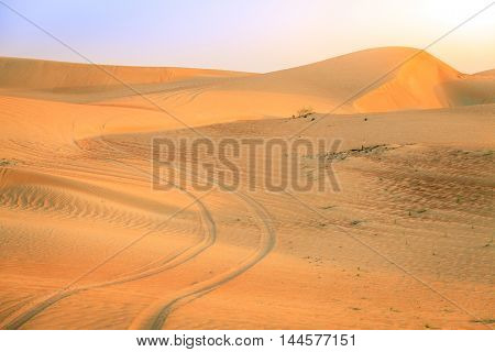 Tire tracks in a desert near Dunai, UAE