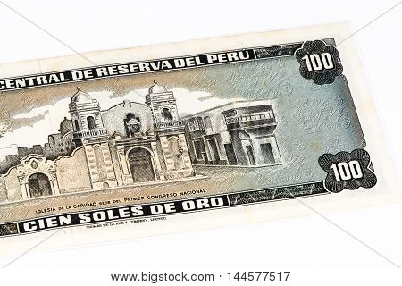 100 soles de oro bank note. Soles de oro is the national currency of Peru