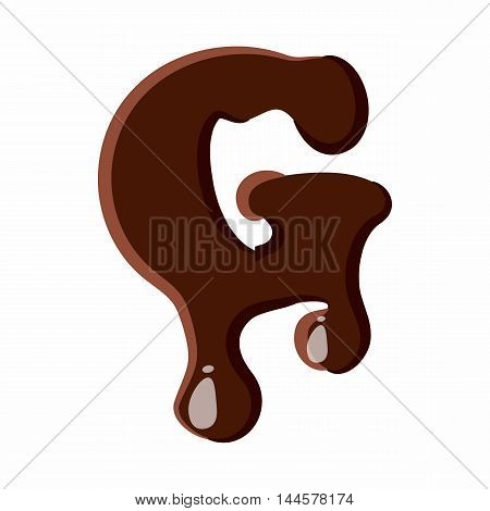 Letter G from latin alphabet with numbers and symbols made of dark melted chocolate