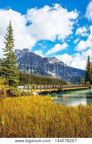 Wooden bridge over Emerald Lake. Yoho National Park, Rocky Mountains, British Columbia