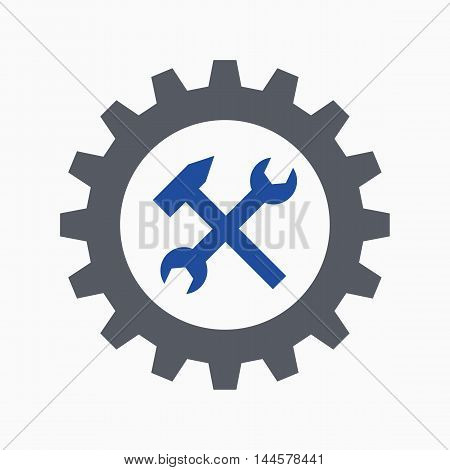 Cogwheel, spanner and hammer, work symbol or repair icon, vector illustration