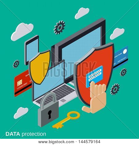 Computer security, data protection, privacy flat 3d isometric vector concept illustration