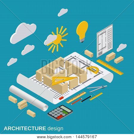 Architecture planning, interior project, architect workplace, computer design illustration