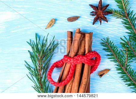 Christmas composition of the ingredients of mulled wine with fir branches