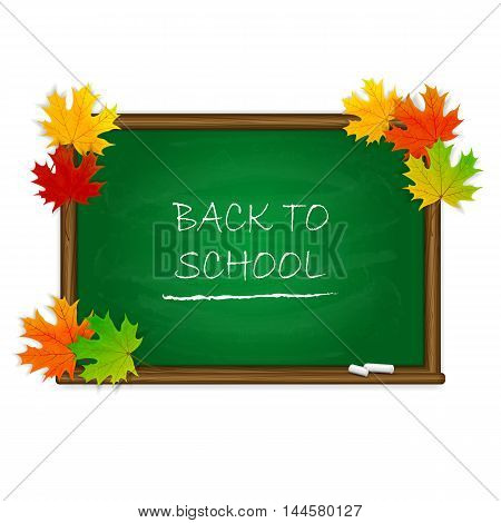 Autumn background, maple leaves and words Back to School written in white chalk on a green chalkboard, illustration.